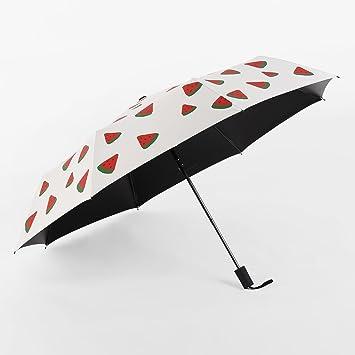 SBBCW Sandía Paraguas Personalizado Dibujo Animado Creativo Lindo Fruta Mano Plegada Con Lluvia O Sol Paraguas