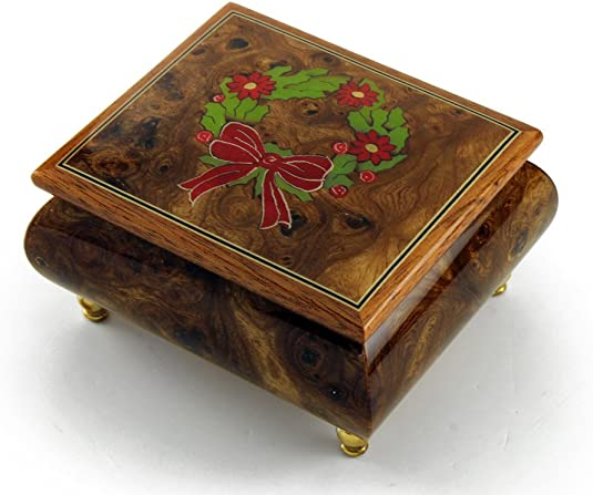 Handcrafted 18 Note Sorrento Music Box with Christmas Theme Wood Inlay of a Christmas Wreath – Harbor Lights JKennedy – Swiss