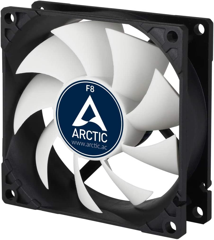 ARCTIC F8 – 80 mm Ventilador de Caja para CPU, Motor Muy Silencioso, Computadora, 2000 RPM – Gris/Blanco