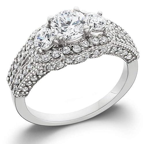 1 3 4ct Round Three Stone Pave Diamond Engagement Ring 14k White Gold