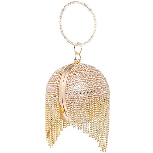Womans Round Ball Clutch Handbag Dazzling Full Rhinestone Tassles Ring  Handle Purse Evening Bag  Amazon.co.uk  Shoes   Bags