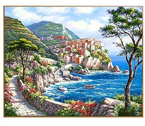 Foto di paesaggi marini Fai da Te Pittura a Olio per Numero Dipinta ...