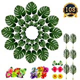 SUBANG 108 Pieces Tropical Palm Leaves And Silk Hibiscus Flowers Party Decor, Artificial Monstera Plant Leaves Flowers Hawaiian Luau Party Jungle Beach Theme BBQ Birthday Party Decorations Supplies