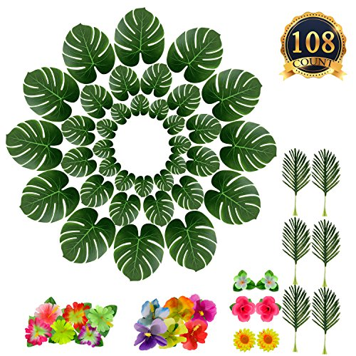 SUBANG 108 Pieces Tropical Palm Leaves And Silk Hibiscus Flowers Party Decor, Artificial Monstera Plant Leaves Flowers Hawaiian Luau Party Jungle Beach Theme BBQ Birthday Party Decorations Supplies by SUBANG