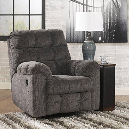 Ashley Furniture Signature Design – Acieona Recliner – Swivel Rocker – Pull Tab Manual Reclining – Slate