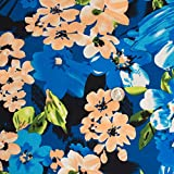 Wild Flowers Poly Spandex FDY Stretch Jersey Knit Turquoise Navy Print Fabric