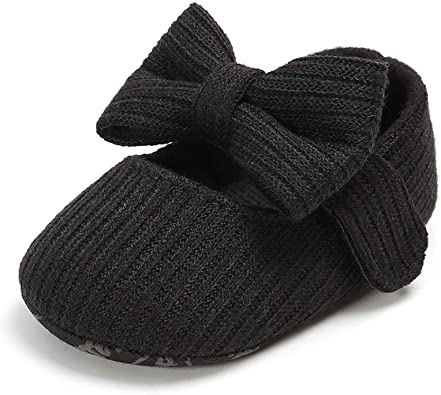 CLOUCKY Baby Girls Bowknot Crib Shoes Soft Sole Mary Jane Ballet Flats Infant Prewalker Dress Shoes