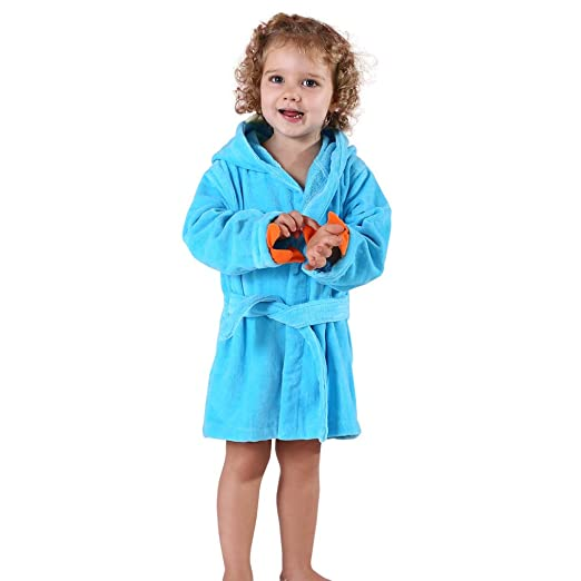 5a1180b298 MICHLEY Girls Boys Robe Cotton Towel Kids Animal Dinosaur Style Hooded  Bathrobe (Blue 1-