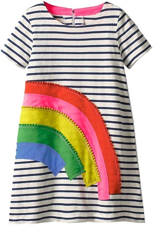 Vestido de verano lindo de las niñas Vestido de algodón a rayas ...