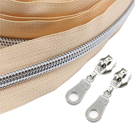 #5 Beige Nylon Coil Zippers by The Yard Bulk 10 Yards with 25pcs Silver Sliders for DIY Sewing Tailor Craft Bag Leekayer Beige /…