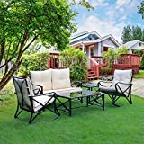 Friday discount Outdoor 5 Pieces Patio Furniture Set with Beige Thickened Cushion - 2 Rocking Chairs & Glass Coffee Table