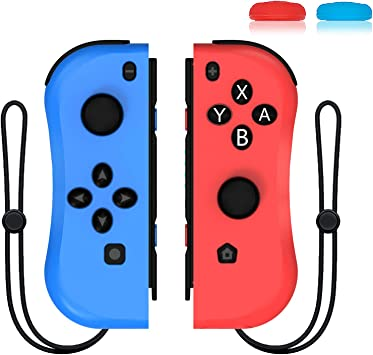 Joycon - Reemplazo para Nintendo Switch Joy con Controller, Wireless L/R Joy Pad, alternativas para Nintendo Switch Controllers, Incluyendo Correa de muñeca y Tapa de Palanca, Color Rojo y Azul: Amazon.es: Electrónica