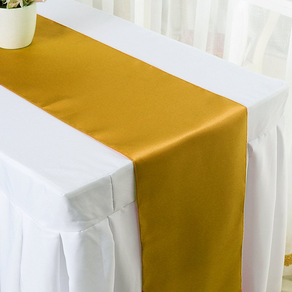 Ecore Gold Table Runner 10 Pack Satin Table Runners,12 x 108 Inches For Wedding Banquet Decoration by ECORE (Image #3)
