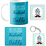 Yaya Cafe Birthday Gifts for Father Best Husband Daddy Combo Set of 4 Mug-Coaster-Mousepad-Keychain