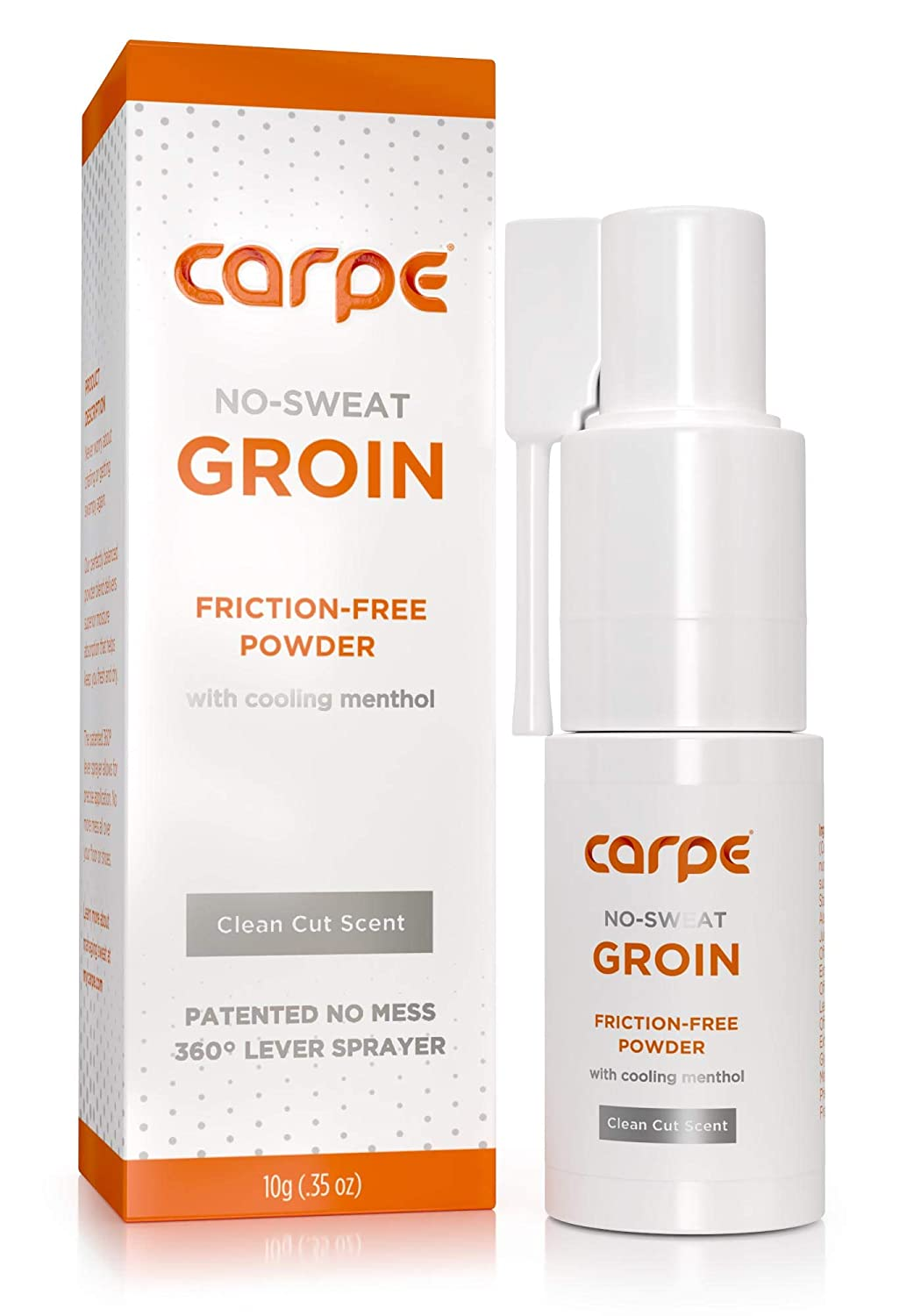 Carpe No-Sweat Groin Powder (For Men) with Precision Applicator - Designed for Maximum Sweat Absorption - Mess and Friction Free, Stop Chafing - 700+ Pumps Per Bottle