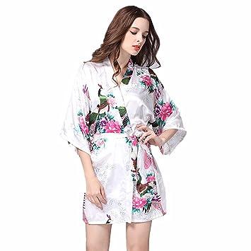 JYSPORT Albornoz Estampado Floral Pijamas Bata Verano Mujer Kimono Lencería Satén Albornoces (white, S