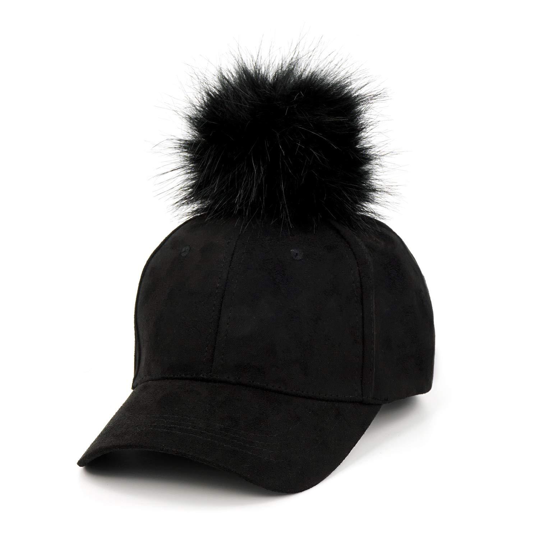 657144a44 B.J Ladies Adjustable Suede Baseball Cap Hip-Hop Hat Faux Fur Pom ...