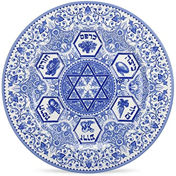 Amazon Com Spode Judaica Seder Plate 1 Blue White Kitchen Dining