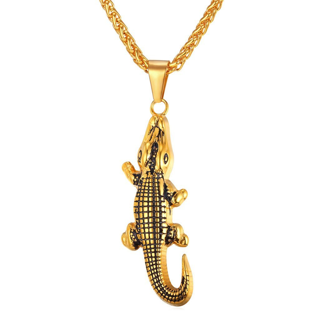 U7 Mens Animal Pendant Cool Stainless Steel Black Alligator Necklace /& Chain