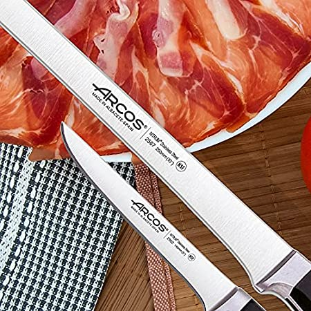 Arcos | Cuchillo Jamonero Cuchillo deshuesador | 2 Uds | Set Cuchillos jamoneros 250 mm y Cuchillo deshuesador (140 mm) jamonero Profesional | Cuchillo Carnicero Profesional | Eco