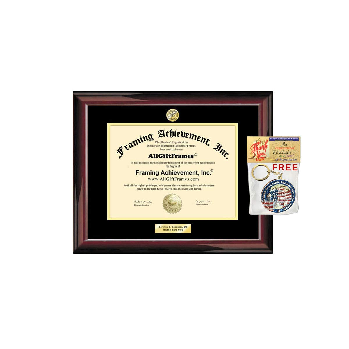 AllGiftFrames Certification License Certificate Passing Examination Exam State Board Diploma Frame Holder Engraving Engineering School PE Engineer Certified Training Land Surveying