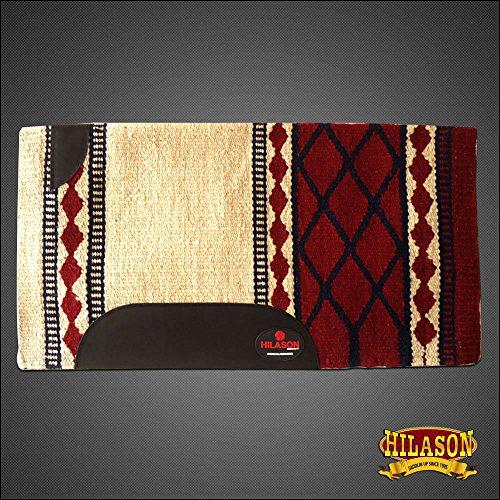 HILASON Western New Zealand Wool Horse Saddle Blanket White Crimson