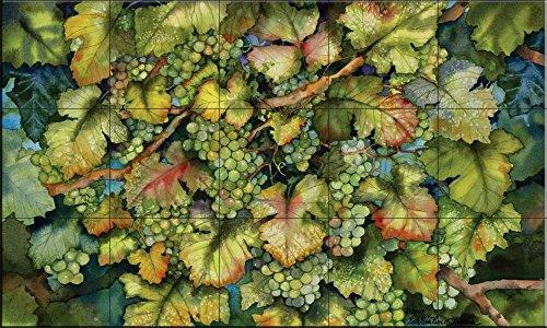 Ceramic Tile Mural - Chardonnay Grapes - by Kathleen Parr McKenna - Kitchen backsplash/Bathroom Shower