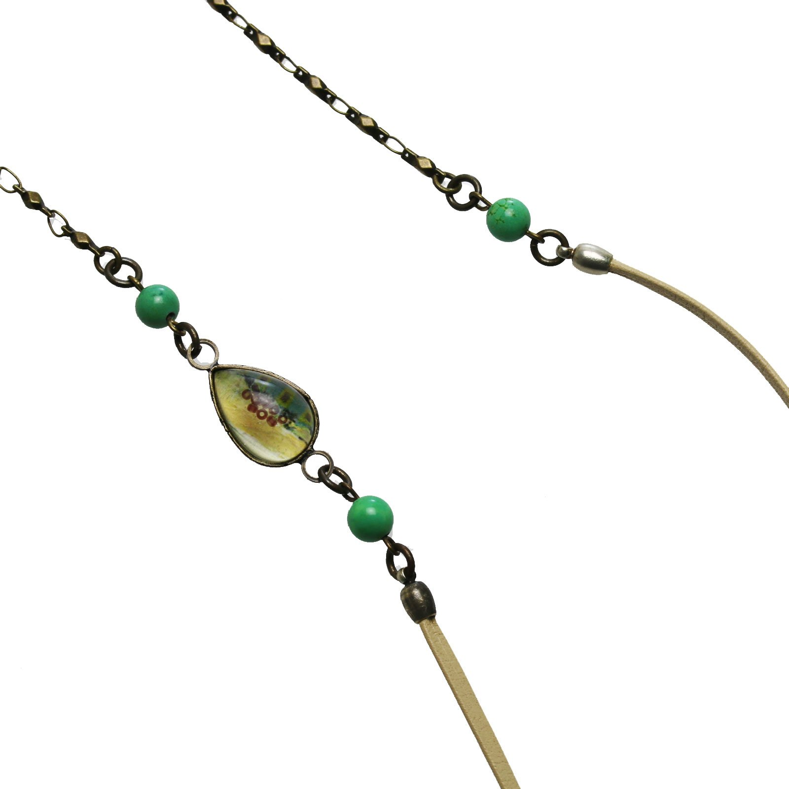Tamarusan Glasses Chain Leather Strap Turquoise Green Unisex Glass Code by TAMARUSAN