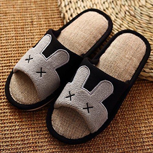 DogHaccd Zapatillas,En el fresco verano zapatillas de casa, la casa de las zapatillas antideslizante parejas gruesa de lino suelo zapatillas durante la primavera y el otoño Negro2