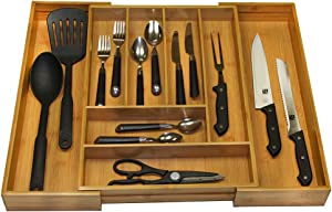 Home Basics Expandable Bamboo Utility Drawer Organizer with 8 Compartments Utensil Cutlery Tray, Adjustable Kitchen Divider for Craft, Sewing, Office, Bathroom, Kitchen