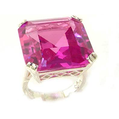 Luxury Sterling Silver Ladies Large Square Octagon Solitaire Synthetic Sapphire Basket Ring QpKhBdmNev