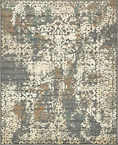 Unique Loom Tuareg Collection Vintage Distressed Traditional Gray Area Rug 8' 0 x 10' 0