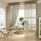 Cheap VOGOL YouYee Fashionable Window Curtains,Home Fashions Elegant Semi Sheer Ruffled Window Curtain Panels Treatments (42×63, Grey)