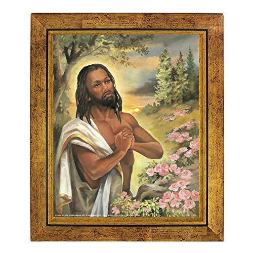 Black Jesus Praying in the Garden by Vincent Barzoni (10x8 inches - Framed Art Print - Gold Frame) (Print Barzoni)