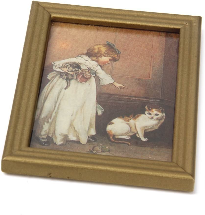 Fransande 1//12 Resin Frame Girls and Wall Mural Pictures Doll House Miniatures