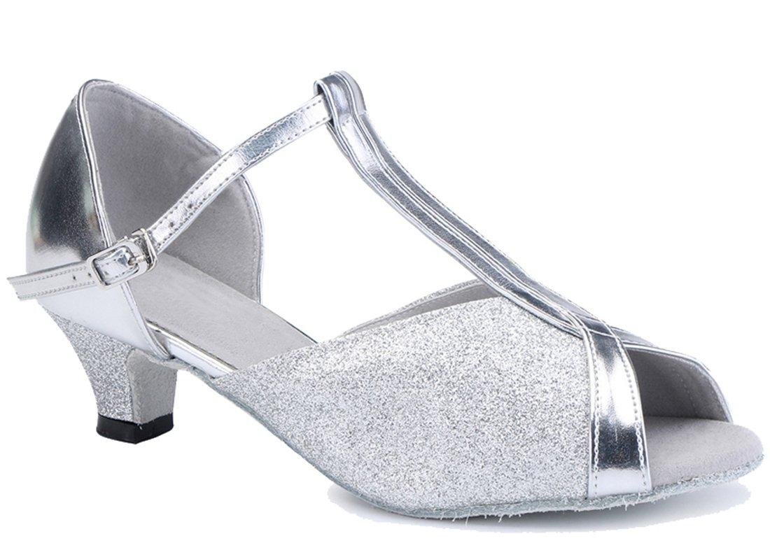 TDA Women's Classic T-Strap Comfort Low Heel Glitter Silver Synthetic Ballroom Latin Modern Dance Shoes 9 M US