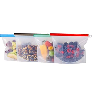 HOMENOW Reusable Silicone Food Storage Bags | Eco-Friendly | BPA Free | FDA Approved | Leak Proof | Freezer, Microwave, Dishwasher Safe | Sous Vide | Clear | Replace Ziploc Bags | 1 Liter | 4 Pack