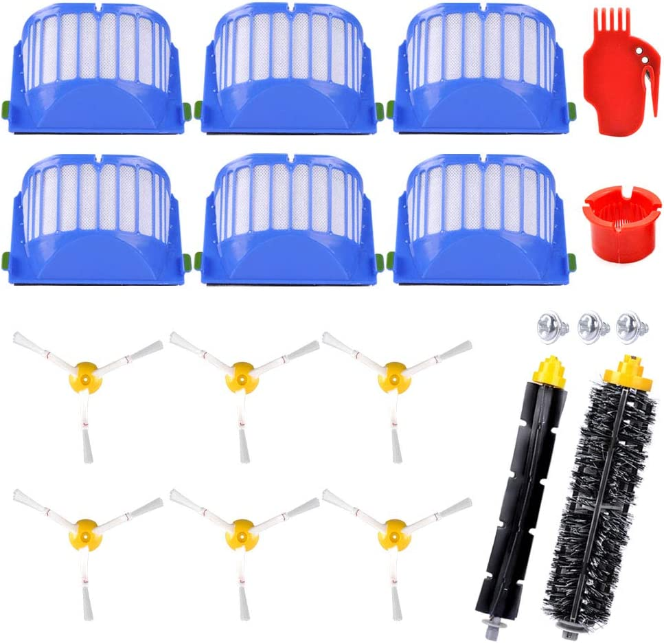 6 Side Brush KEEPOW Accessory Kit for iRobot Roomba 600 Series 671 675 with Gray Module, 1 Pair Bristle Brush /& Flexible Beater Brush 6 Filter Vaccum Cleaner Replacement Not for 690 650 652