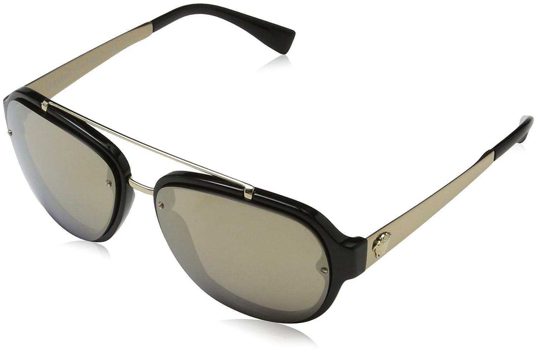 410aa79de2 Amazon.com  Versace Mens Sunglasses Black Gold Plastic