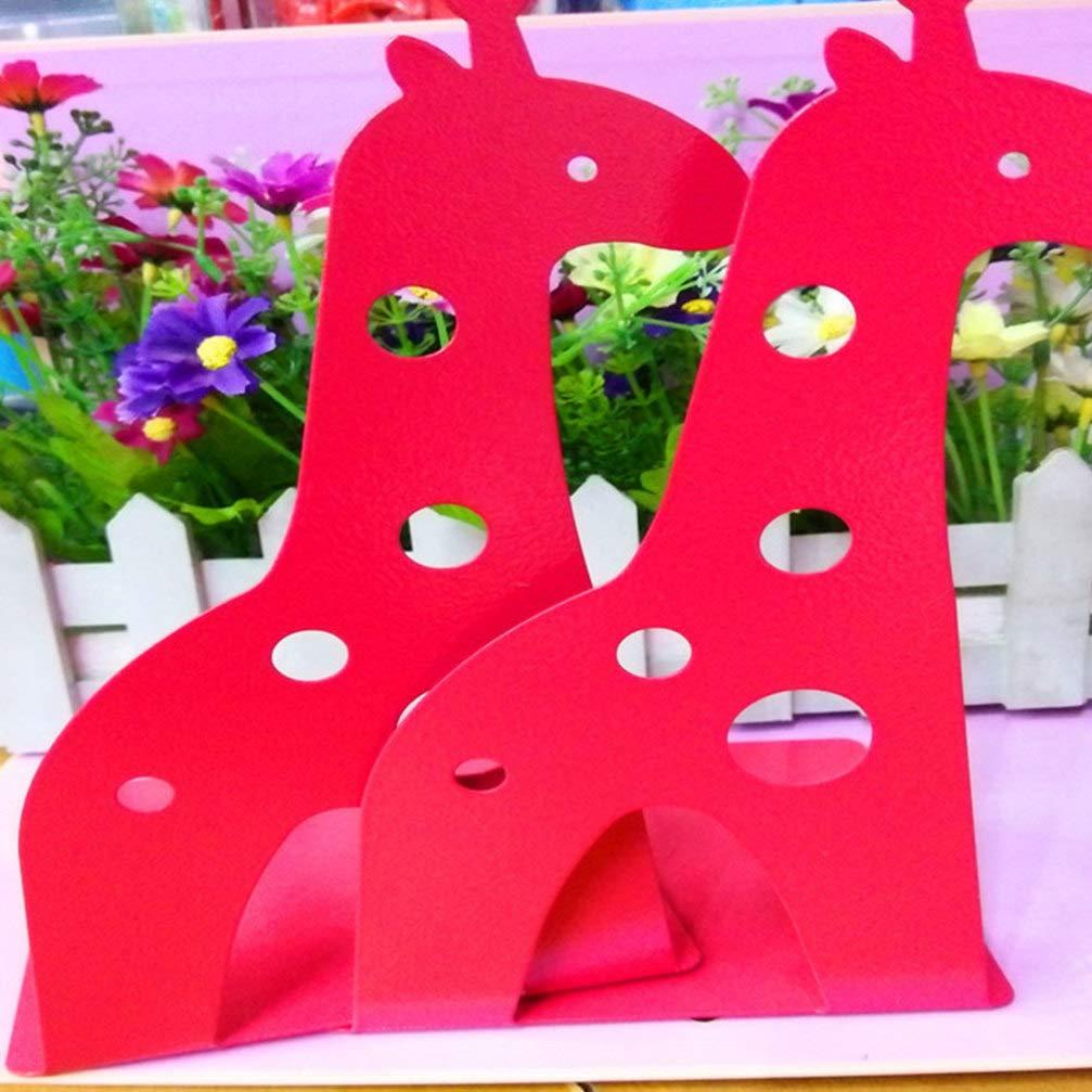 IMIKEYA Fermalibri giraffa 2 pezzi supporti per libri di cartone animato supporti per libri di animali organizzatori di libri antiscivolo estremit/à di libri per scaffali di libri in metallo nero