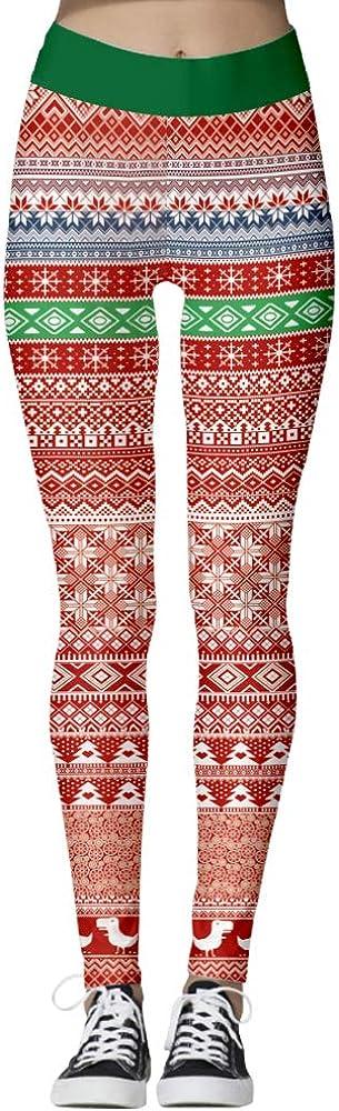 Opiu Womens Ugly Santa Christmas Leggings Funny Costume Cosplay Tights