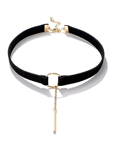 3ac1cdeff82 Black Choker Necklace Black Velvet Choker Necklace for Women Girls Chokers  for Women Gold Circle Ring