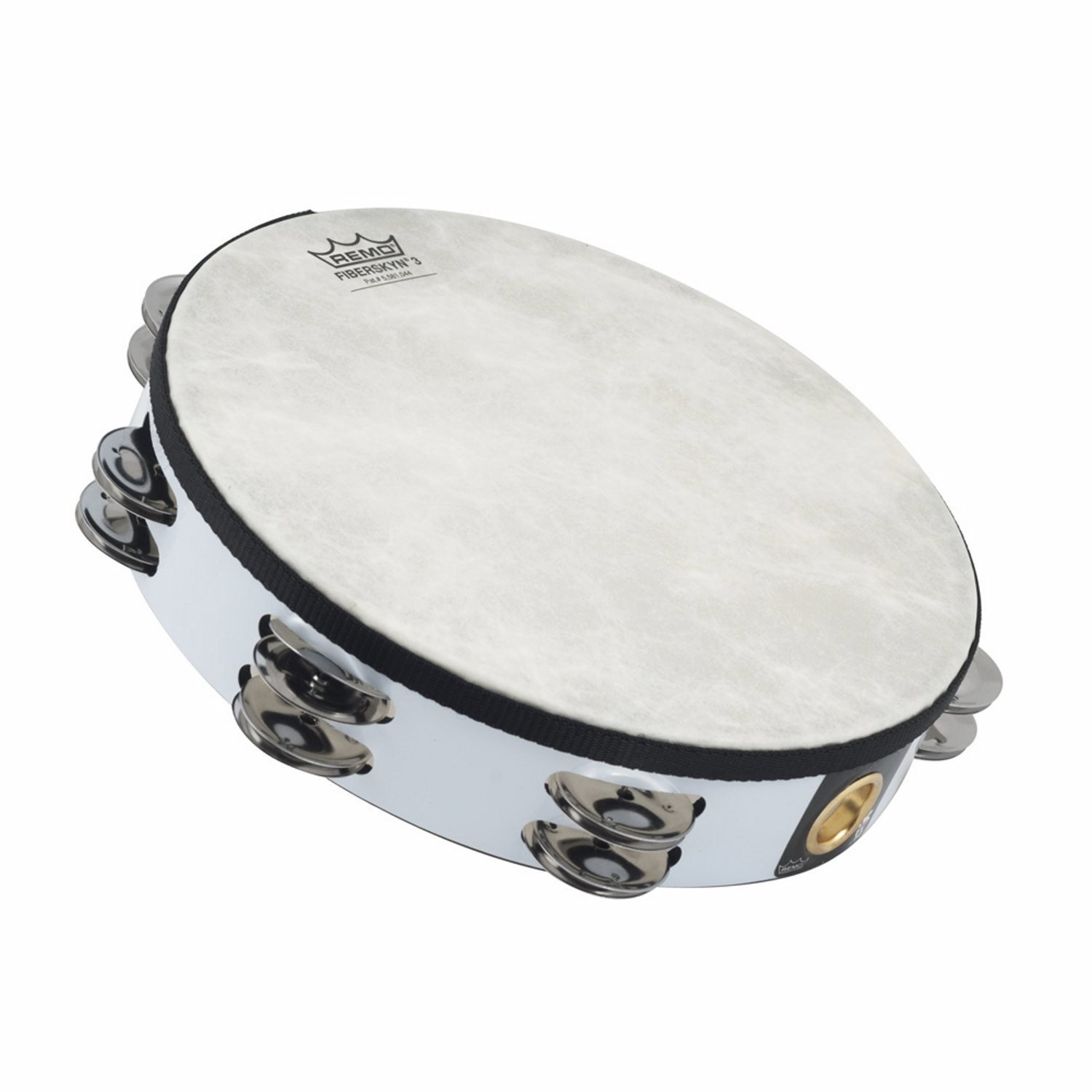 Remo 10 inch Fiberskyn Tambourine (Double Jingle; White; Teen/Adult) by Remo