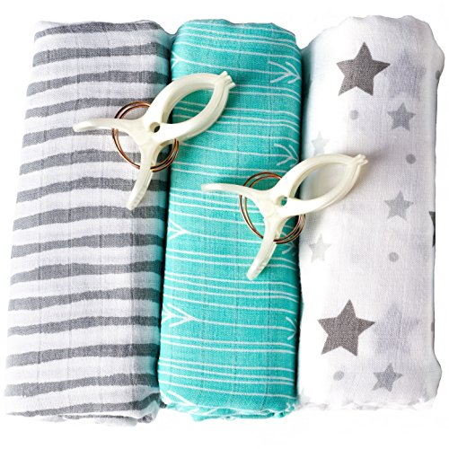 Swaddle Blanket (Softest Bamboo Muslin) 3 Pack | 2 Stroller Clips | Baby Sleeping Guide By BabyVoice (Aussie Flag Dress)
