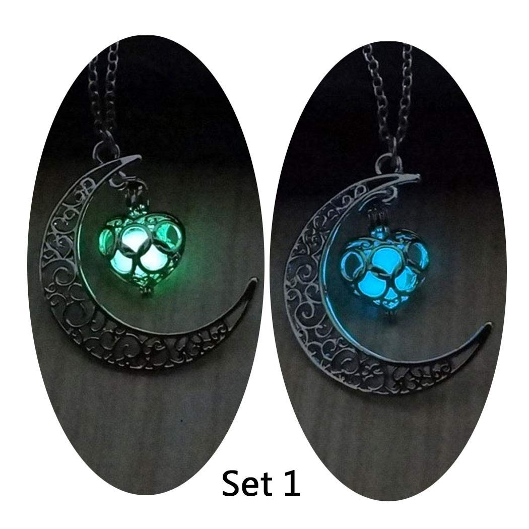 Barogirl Luminous Necklace Crescent Moon Glow Pendant Necklaces Love Heart Silver Plated 2 PCS (Set 1) by Barogirl (Image #1)