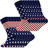 American Flag Socks, LANDUNCIAGA Men's Boots Knee High Gift Novelty Fashion Americana Patriotic Socks Cotton Wedding Socks Groom Groomsmen Crew Socks,8 Pack