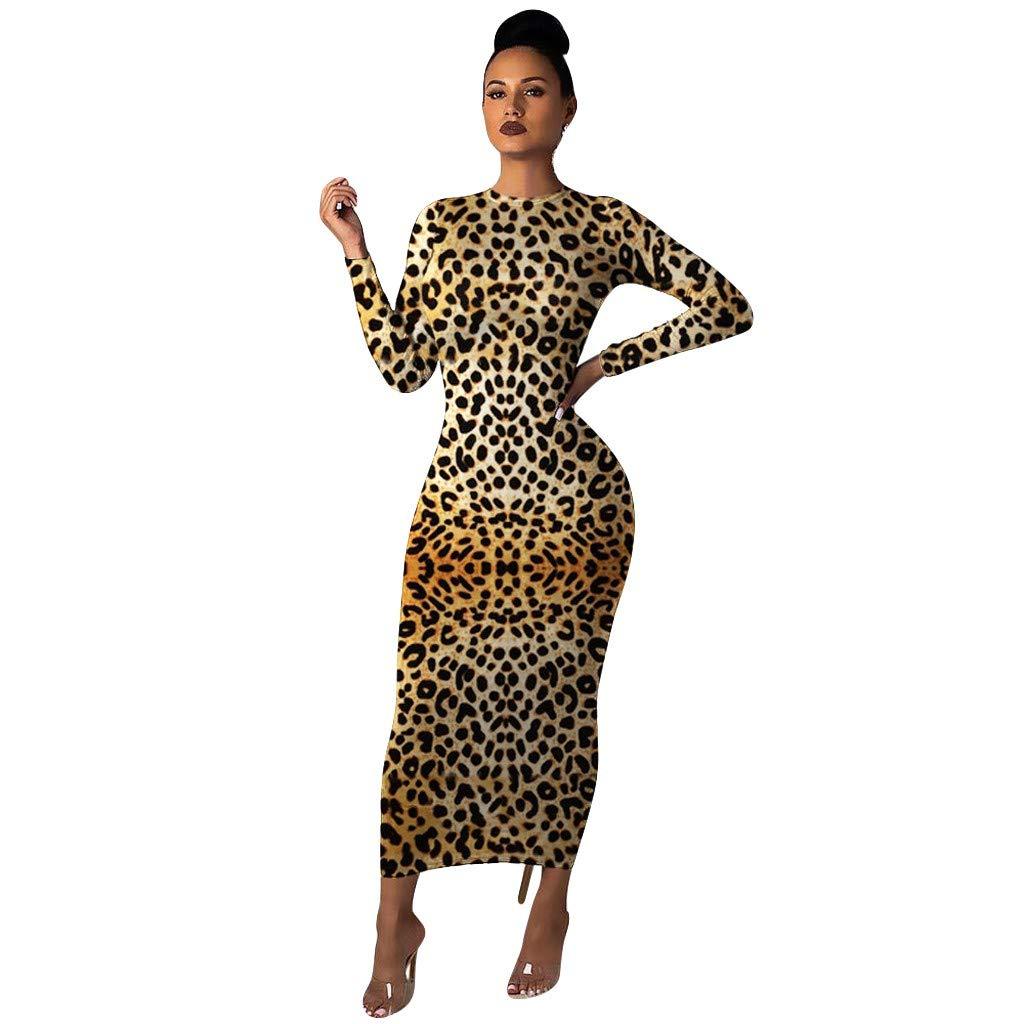 ✿HebeTop✿ Womens Python Snake Crocodile Zebra Giraffe Leopard Tiger Leather Scales Animal Skin Long Sleeve Silm Dress Yellow by ▶HebeTop◄➟HOT SALES