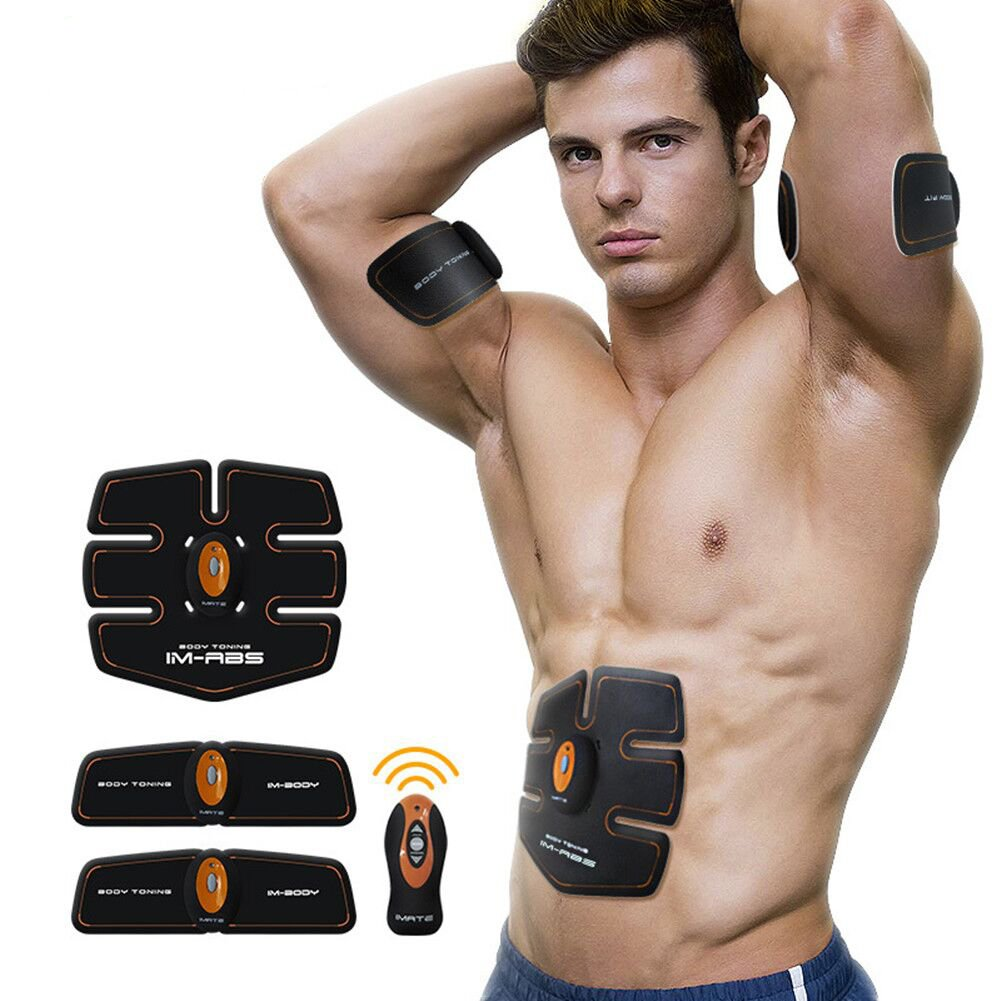 Cszlove Wireless Abdominal Muscle Toner Body Muscle Trainer Electronic Muscle Stimulation Body Fitness System ABS Fit Body Fit Arm Body Massager for Men - Orange