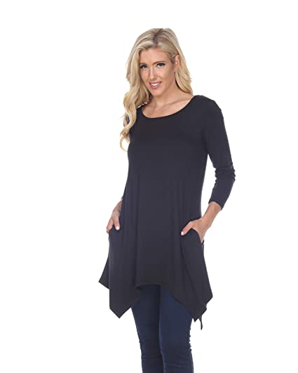 f22c86fd298 White Mark Makayla Tunic Top with Shark Bite Hemline   Pockets in Black -  Small