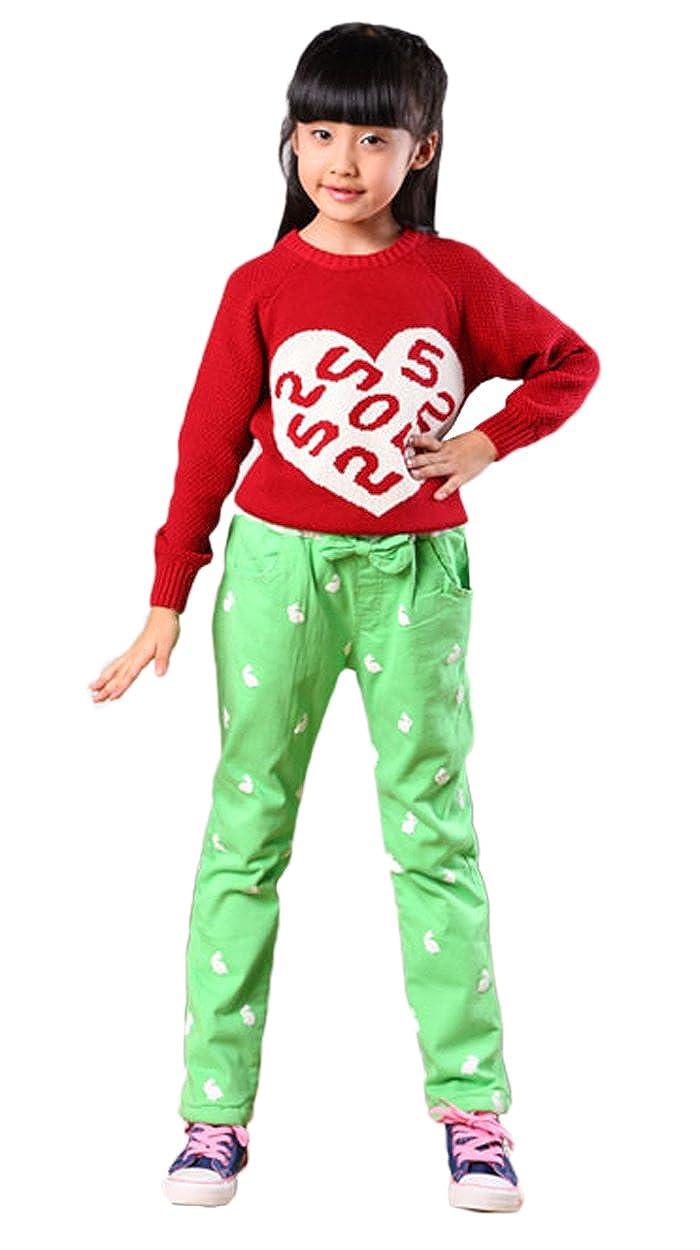 5aa634a2e14 Amazon.com  Only Faith Little Girls Plus Size Winter Fleece Rabbit Pants  Green  Clothing